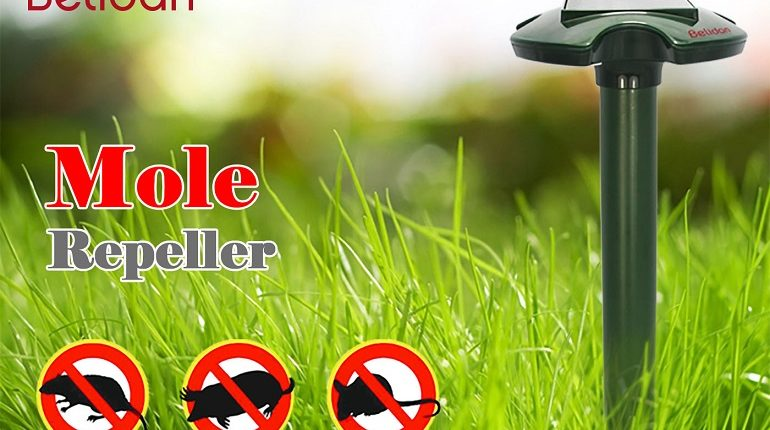 Mole Repeller – Belidan 2 Pack Solar Mole Repeller – Gopher Repellent Ultrasonic Mole Repellent Snakes Rodent Mice Rat Vole Trap Deterrent Outdoor Chaser as good as Mole Poison Mole Killer Mole Trap
