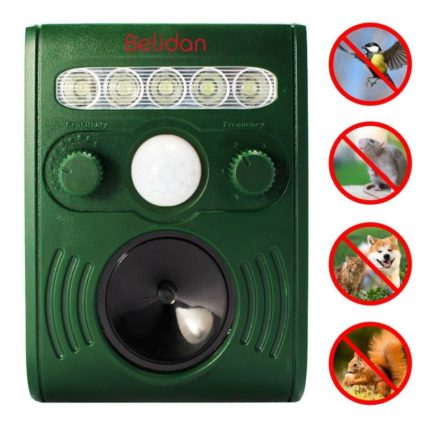 Ultrasonic Animal Repeller – Solar Powered Repellent – Raccoon Repellent Skunk Repellent – Deterrent for Cats, Dogs, Foxes, Birds, Deer, Squirrels and more. Outdoor Ultrasonic Animal Repellent with Motion Sensor and Flashing LED Lights