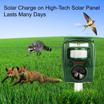 Animal Repeller and Bird Repellent – Animal Repellent Ultrasonic Outdoor – Deterrent for Dogs, Cats, Deer, Birds, Bats, Raccoons, Skunk, Mice, Rats, Squirrel, Badgers and Martens. Solar Powered Animal Repeller with Motion Sensor, LED light and Alarm